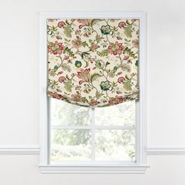 Teal & Pink Floral Relaxed Roman Shade