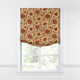 Beige & Red Suzani Relaxed Roman Shade