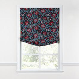 Red & Navy Blue Suzani Relaxed Roman Shade