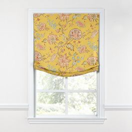 Delicate Yellow Floral Relaxed Roman Shade