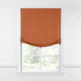 Burnt Orange Slubby Linen Relaxed Roman Shade