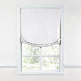 Bright White Slubby Linen Relaxed Roman Shade