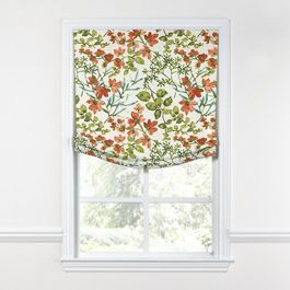 Coral Watercolor Floral Relaxed Roman Shade