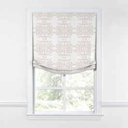 Light Tan & White Scroll Relaxed Roman Shade