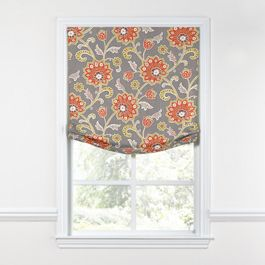 Coral & Gray Floral Relaxed Roman Shade
