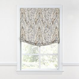 Tan & Gray Faux Bois Relaxed Roman Shade