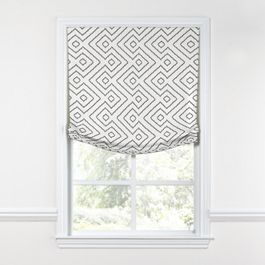 White & Gray Diamond Relaxed Roman Shade