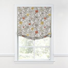Modern Gray Floral Relaxed Roman Shade
