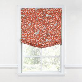 Red Animal Motif Relaxed Roman Shade