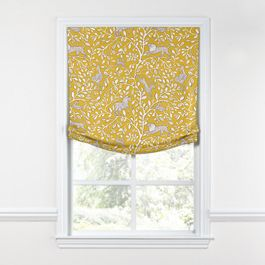 Yellow Animal Motif Relaxed Roman Shade