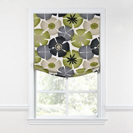 Modern Gray & Green Floral Relaxed Roman Shade