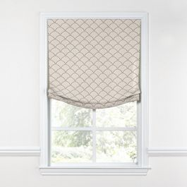Embroidered Taupe Scallop Relaxed Roman Shade