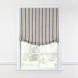 Rustic Gray Stripe Relaxed Roman Shade