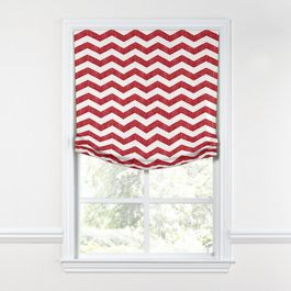 White & Red Chevron Relaxed Roman Shade