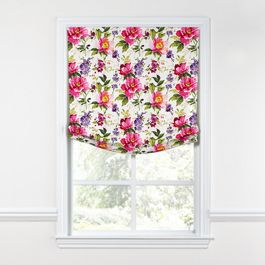Chintz-like Pink Floral Relaxed Roman Shade