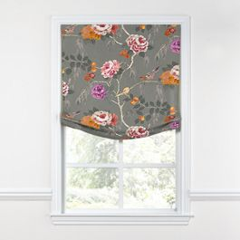 Painterly Pink & Gray Floral Relaxed Roman Shade