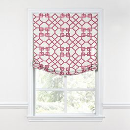 Asian Pink Trellis Relaxed Roman Shade