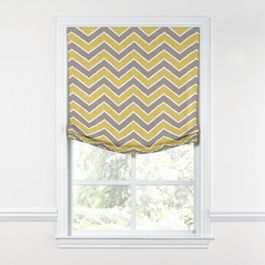 Gray & Yellow Chevron Relaxed Roman Shade