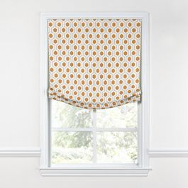 Beige & Orange Hexagon Relaxed Roman Shade