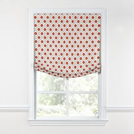Gray & Red Hexagon Relaxed Roman Shade