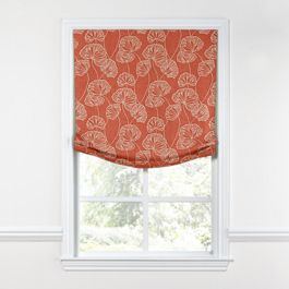 Coral Red Fan Leaf Relaxed Roman Shade