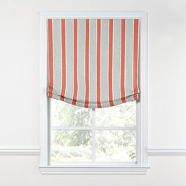 Aqua & Coral Pink Stripe Relaxed Roman Shade