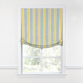 Teal & Yellow Stripe Relaxed Roman Shade