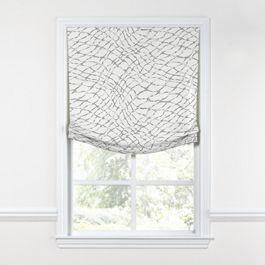 Gray & White Net Relaxed Roman Shade