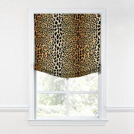Velvet Leopard Print Relaxed Roman Shade