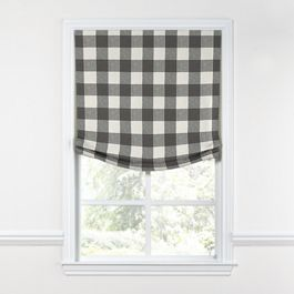 Gray & White Buffalo Check Relaxed Roman Shade