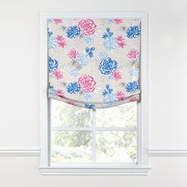 Blue & Pink Floral Relaxed Roman Shade