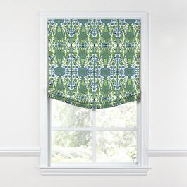 Green & Blue Ikat Relaxed Roman Shade
