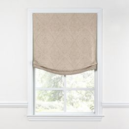 White & Tan Embroidery Relaxed Roman Shade