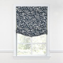 Modern Navy Blue Floral Relaxed Roman Shade