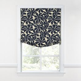 Navy Graphic Floral Relaxed Roman Shade