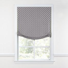 White & Gray Polka Dot Relaxed Roman Shade