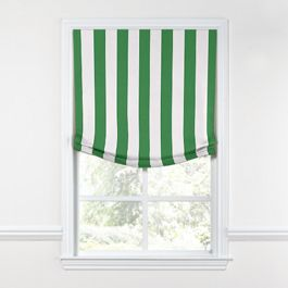 Green Awning Stripe Relaxed Roman Shade