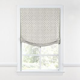 Light Gray Trellis Relaxed Roman Shade
