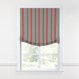 Red Blue Tan Stripe Relaxed Roman Shade