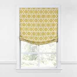 Bright Yellow Trellis Relaxed Roman Shade