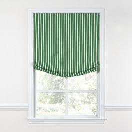 Emerald Green Thin Stripe Relaxed Roman Shade
