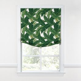 Green Banana Leaf Relaxed Roman Shade