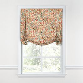 Multicolor Red Paisley Tulip Roman Shade
