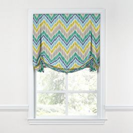 Gray, Green & Blue Chevron Tulip Roman Shade