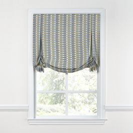 Yellow & Blue Mod Geometric Tulip Roman Shade