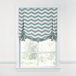 White & Blue Chevron Tulip Roman Shade