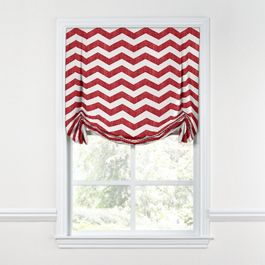 White & Red Chevron Tulip Roman Shade