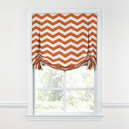 White & Orange Chevron Tulip Roman Shade