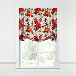 Bold Green & Red Floral Tulip Roman Shade
