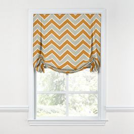 Tan & Orange Chevron  Tulip Roman Shade